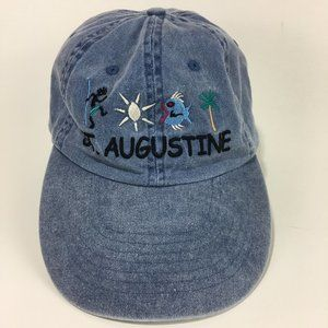 St Augustine Cap Hat Faded Blue Embroidered